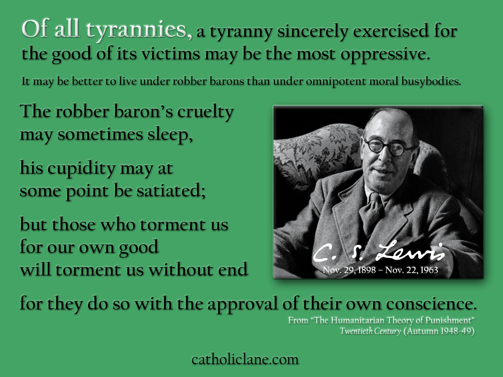 C.S. Lewis on Tyranny