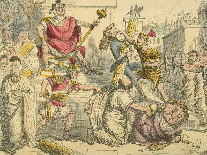 Tarquinius Superbus Makes Himself King by John Leech in Gilbert Abbott a Beckett's Comic History of Rome (1850)