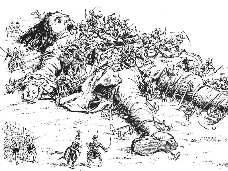Gulliver Bound By Lilliputians